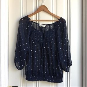 Abercrombie & Fitch Polka Dot Navy Blouse